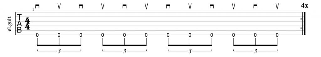Alternate picking triplets guitar tab