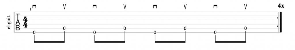 Alternate outside picking guitar exercise tab