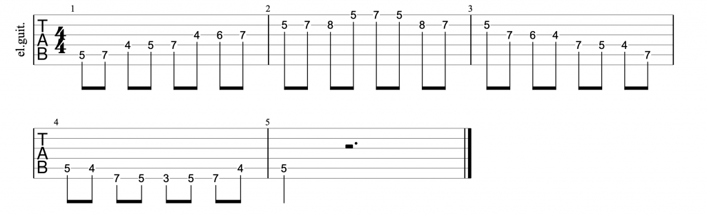 Guitar tab for position 4 of the d major scale