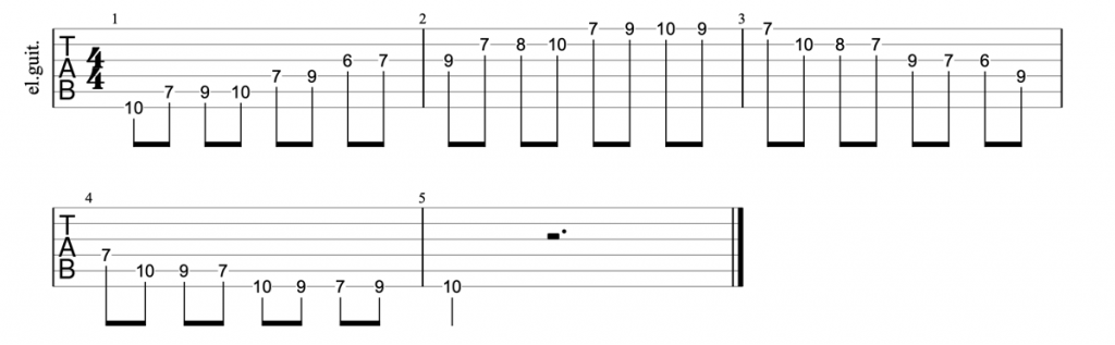 Guitar tab for position 5 of the d major scale